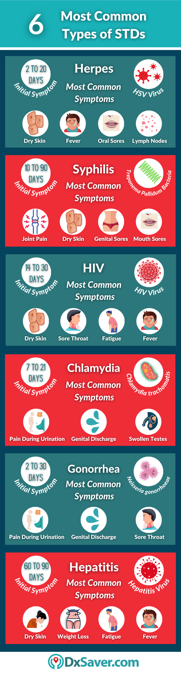 Info-graphic displays the different types of Sexually transmitted diseases, STDs in the US.